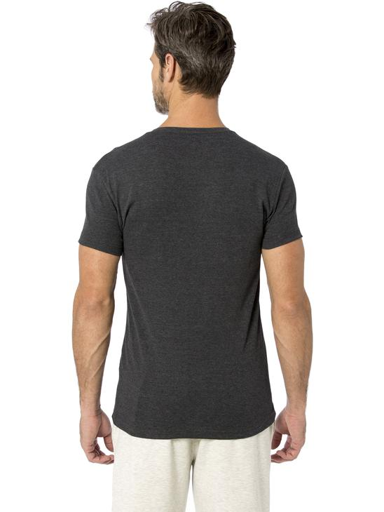 ANTHRACITE - V-Neck and Short Sleeve Cotton T-Shirt - 8S1289Z8
