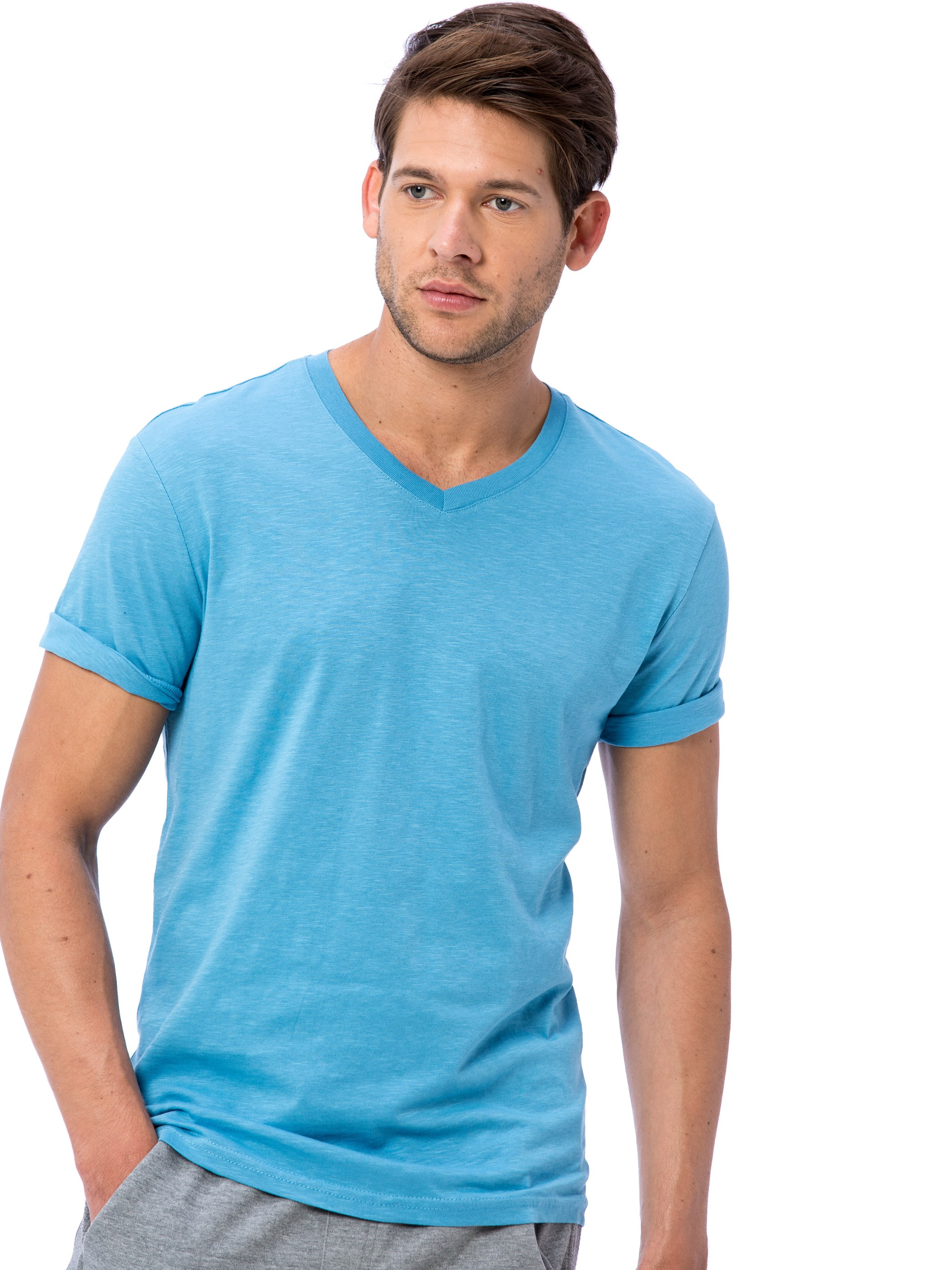 BLUE - V-Neck and Short Sleeve Cotton T-Shirt - 8S9385Z8