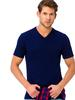NAVY - V Neck Short Sleeve Basic Cotton Men's T-Shirt - 8S6217Z8