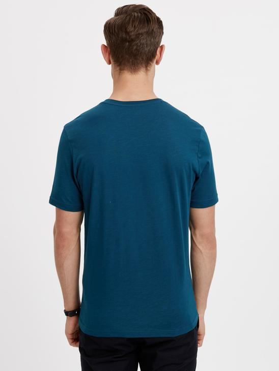 PETROL - V-Neck and Short Sleeve Cotton T-Shirt - 8S1290Z8