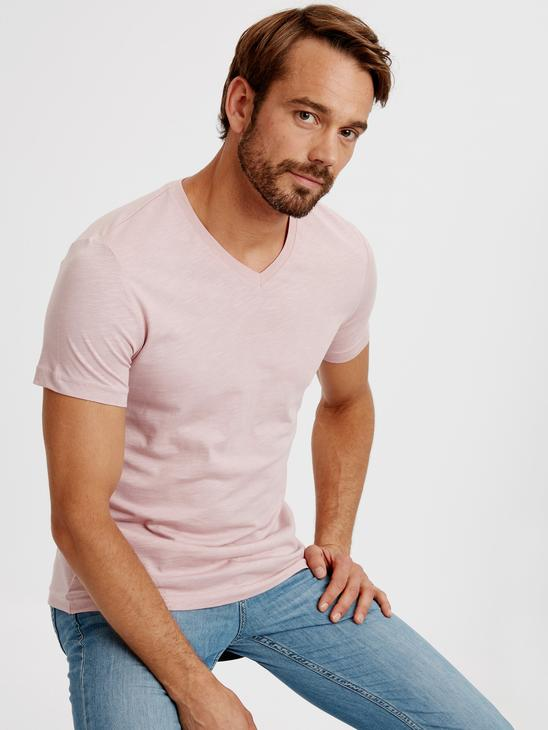 PINK - V-Neck and Short Sleeve Cotton T-Shirt - 8S1290Z8