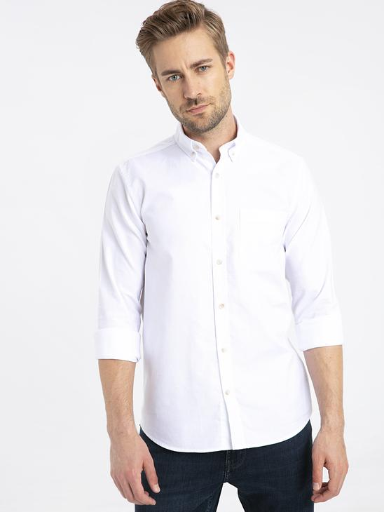 WHITE - Regular Fit Long Sleeve Oxford Shirt - 9W1094Z8