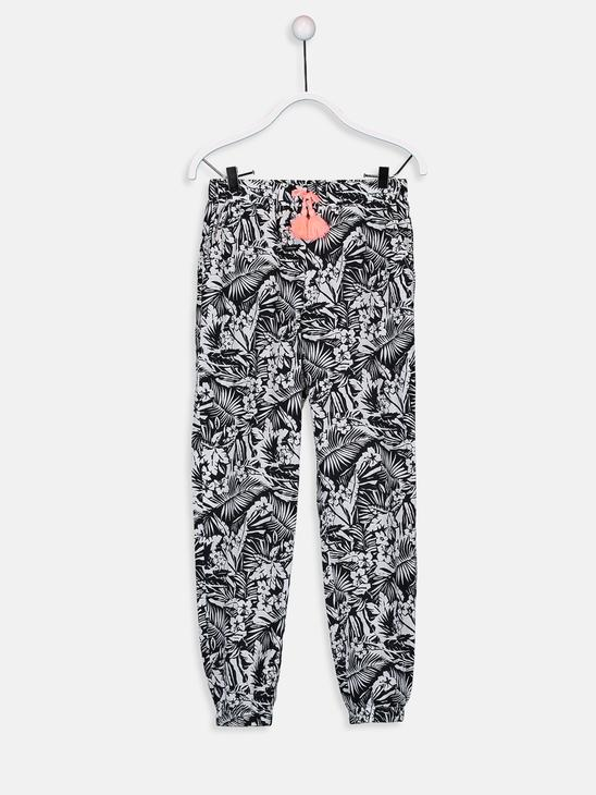 BLACK - Girl's's Figured Cotton Jogger Trousers Mother and Daughter Matching - 9WM628Z4