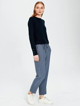 INDIGO - Ankle Length Elastic Waist Carrot Fit Trousers