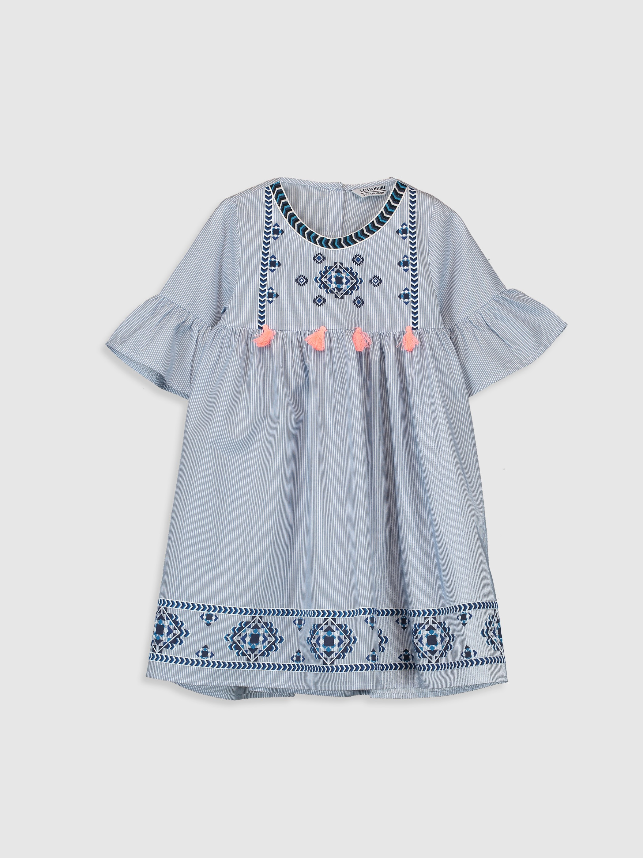 BLUE - Girl's's Figured Cotton Dress Mother and Daughter Matching - 9WQ388Z4