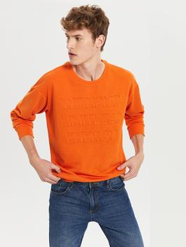 ORANGE - Crew Neck Printed Heavy Sweatshirt Father and Son Matching - 9WY285Z8