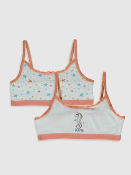 WHITE - 2-pack Girl's Cotton Bustier