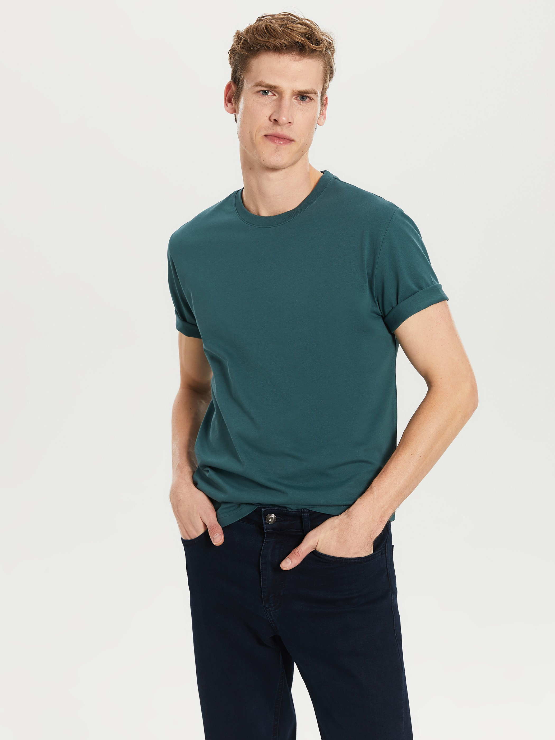 GREEN - Crew Neck Basic Combed Cotton T-Shirt - 0S1780Z8