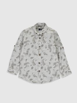 GREY - Boy's Figured Cotton Shirt Family Matching