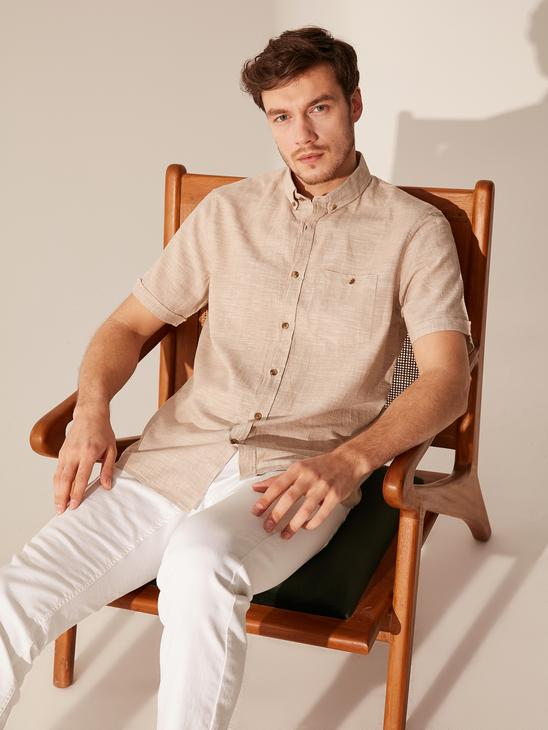BEIGE - Regular Fit Short Sleeve Linen Shirt - 0S5723Z8