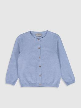BLUE - Girl's Lightweight Tricot Cardigan