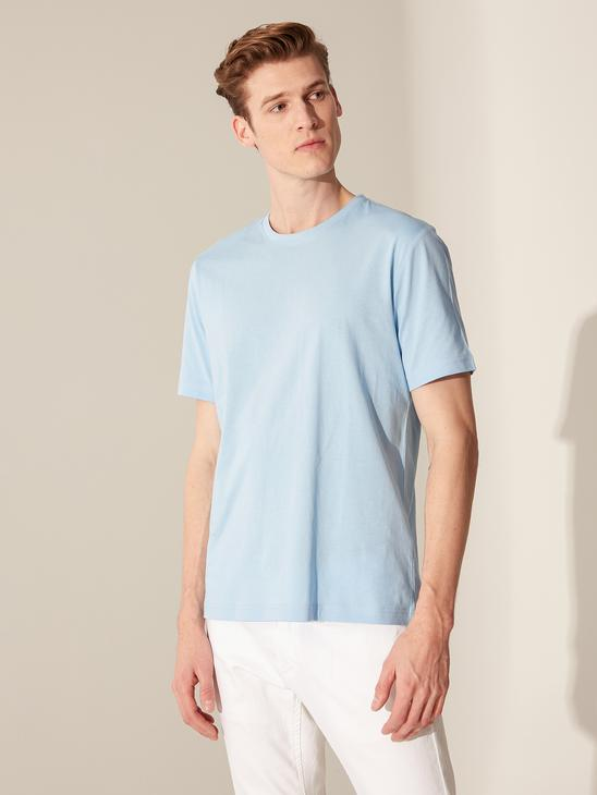 BLUE - Crew Neck Basic Combed Cotton T-Shirt - 0S1780Z8