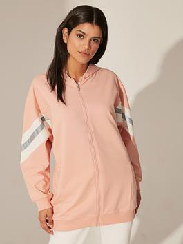 PINK - Sleeve Detailed Striped Hooded Zippered Sweatshirt