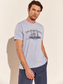 BLUE - Crew Neck Printed Combed Cotton T-Shirt - 0SL722Z8