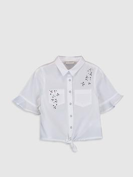 WHITE - Girl's Cotton Shirt