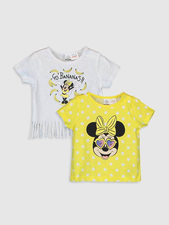 WHITE - Baby Girl Minnie Mouse Printed Cotton T-Shirt 2 Pieces - 0S8842Z1