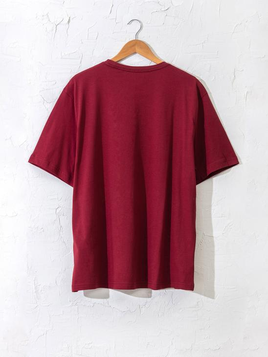 BORDEAUX - Crew Neck Basic Combed Cotton T-Shirt - 0S1780Z8