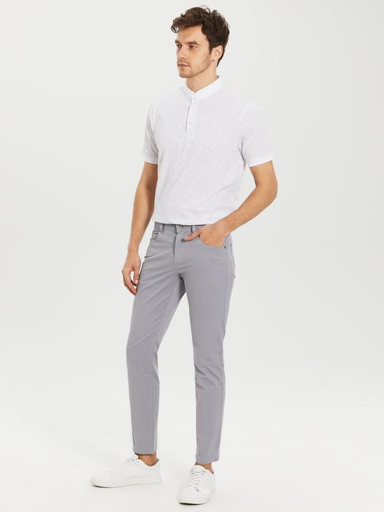 GREY - Slim Fit Gabardine Chino Trousers - 0S4765Z8