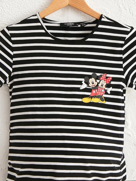 BLACK - Mickey Mouse Printed Striped Maternity T-Shirt - 0SF322Z8