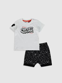 WHITE - Baby Boy's Mickey Mouse Printed Set