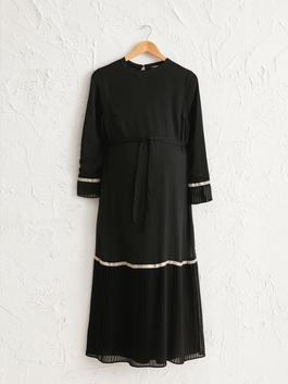 BLACK - Pile Detailed Belted Long Maternity Dress