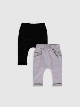 BLACK - 2-pack Baby Girl's Cotton Bottoms