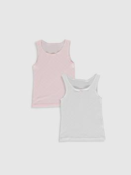 WHITE - 2-pack Girl's Cotton Tank Top
