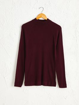 BORDEAUX - Mock Turtleneck Lightweight Tricot Jumper