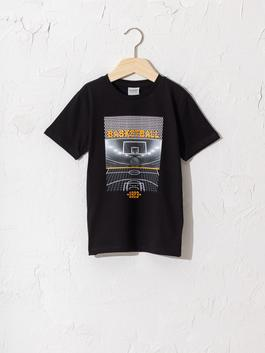 BLACK - Boy's Printed Cotton T-Shirt
