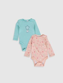 TURQUOISE - 2-pack Baby Girl's Cotton Bodysuit