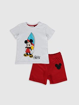 WHITE - Baby Boy's Mickey Mouse Printed T-Shirt and Shorts