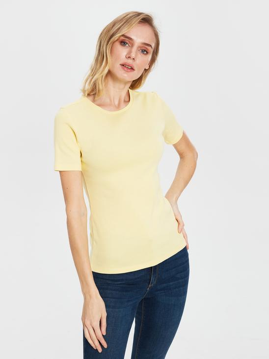YELLOW - Plain Basic Cotton T-Shirt - 0S2138Z8