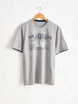 GREY - Crew Neck Printed Combed Cotton T-Shirt