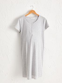 GREY - Polka Dot Maternity Nightgown