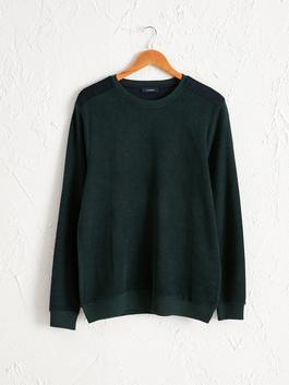 GREEN - Crew Neck Basic Sweatshirt