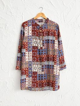 BROWN - Figured Viscose Tunic