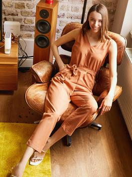 BROWN - Belted Sleeveless Jumpsuit