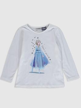 WHITE - Girl's Elsa Printed Cotton T-Shirt