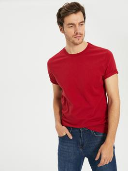 RED - Crew Neck Basic Combed Cotton T-Shirt