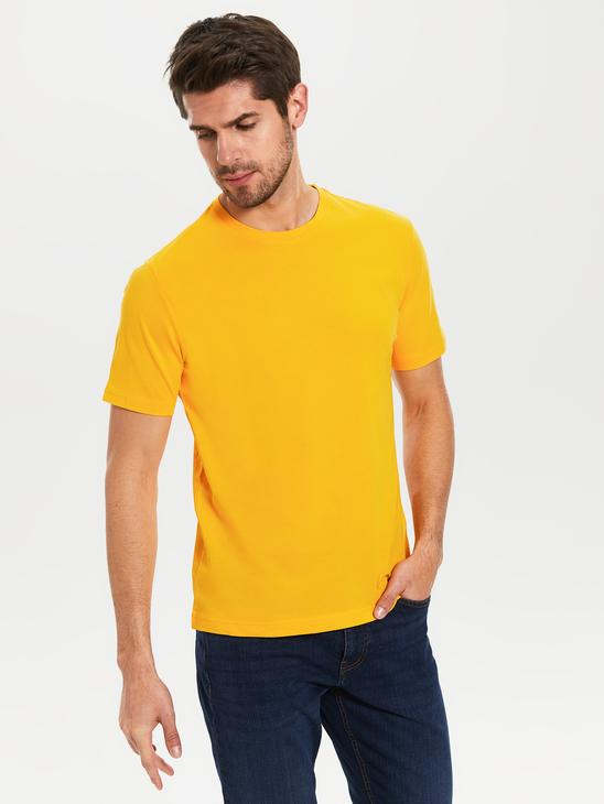 ORANGE - Crew Neck Basic Combed Cotton T-Shirt - 0S1780Z8