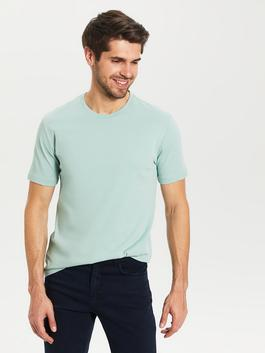 GREEN - Crew Neck Basic Combed Cotton T-Shirt