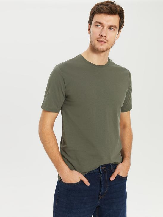 KHAKI - Crew Neck Basic Combed Cotton T-Shirt - 0S1780Z8