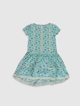 GREEN - Girl's Floral Cotton Dress