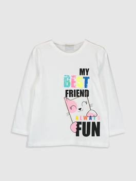 WHITE - Girl's Printed Cotton T-Shirt