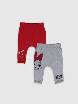 RED - Baby Girl Minnie Mouse Printed Sweatpants 2 Pieces