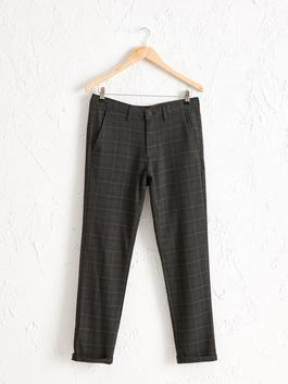BROWN - Slim Fit Chequered Trousers