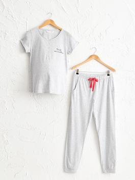 GREY - Figured Maternity Pyjamas Set