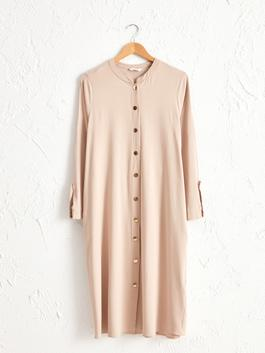 BEIGE - Front Buttoned Stretch Dress
