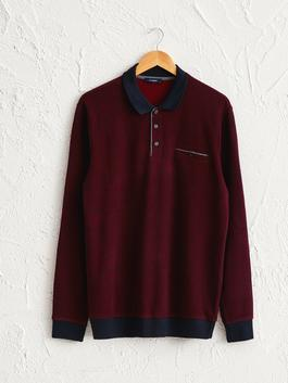 BORDEAUX - Polo Neck Long Sleeve Sweatshirt