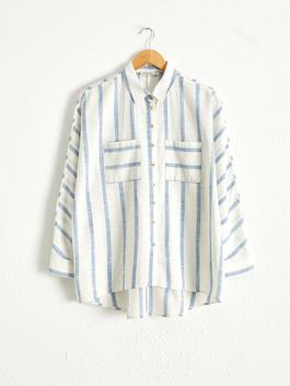 BLUE - Striped Loose Fit Shirt
